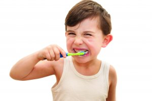 Young boy brushing his teeth on an isolated white background. The boy is six hears old and has four new adult teeth that have recently grown to their full size. He is wearing a white vest and is happily brushing his teeth.